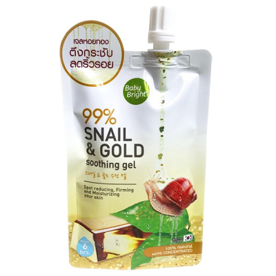 Baby Bright, 99% Snail & Gold Soothing Gel, 50 г.